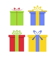Christmas gifts boxes with bows in flat style vector image vector image