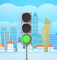 Cityscape with the traffic light City trafic vector image vector image