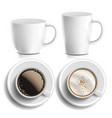 coffee cups top side view different vector image vector image