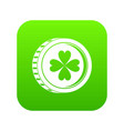 coin with clover sign icon digital green vector image
