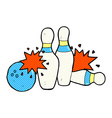 comic cartoon bowling ball and skittles vector image vector image