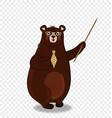 cute cartoon bear teacher in glasses holding vector image