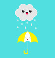 cute cartoon kawaii cloud with rain drops showing vector image vector image