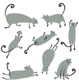 Cute doodle cats set vector image vector image