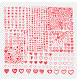 doodle hearts icon set hand drawn design vector image