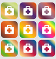 first aid kit icon Nine buttons with bright vector image vector image