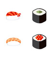 flat icon salmon set of salmon rolls seafood vector image