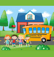 four students going home by school bus vector image vector image