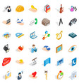 good work icons set isometric style vector image vector image