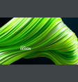 green striped wavy shape liquid flowing substance vector image vector image