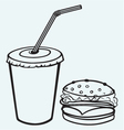 Hamburger with cola vector image