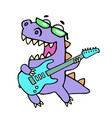 happy dragon playing the electric guitar in black vector image vector image
