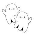 happy halloween cute ghosts cartoon character line vector image