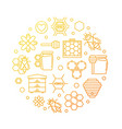 honey and beekeeping yellow line round vector image vector image
