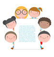 kids peeping behind placard cute little children vector image