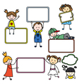 Kids with Blank Signs vector image vector image
