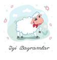 kurban bayram eid al-adha card design with cute vector image vector image