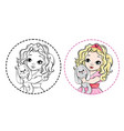 little princess outlined for coloring book vector image