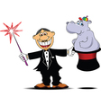 Magician with hippo vector image vector image