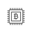 motherboard with bitcoin sign blockchain line vector image