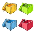 Open box in many colors set vector | Price: 1 Credit (USD $1)