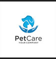 pet care logo with dog cat and hand symbols vector image vector image
