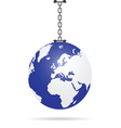 planet earth on chain vector image