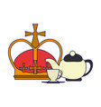 queen crown and tea cup vector image vector image