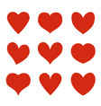 red hearts heart stickers love romance and vector image