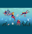 scuba divers collecting floating sea garbage vector image vector image