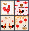 Set Banners with Chinese New Year Roosters vector image