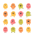 Set cartoon hand drawn smiley monsters