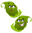 set of funny laughing green tree leaf isolated on vector image vector image