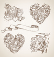 Set of romantic sketch design elements vector image