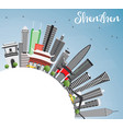 shenzhen skyline with gray buildings blue sky and vector image vector image