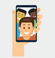 smartphone with friends photo on display vector image