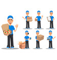 smiling delivery man in blue uniform set vector image