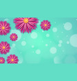 spring background with paper flowers on a blue vector image vector image