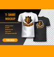t-shirt mockup with tigers phrase in two colors vector image vector image