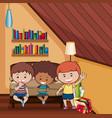 three happy kids in bedroom vector image