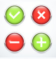 tick cross plus minus icon set vector image vector image