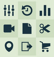 user icons set with file location chart and vector image