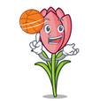 with basketball crocus flower character cartoon vector image