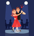 young romantic couple dancing tango under bright vector image