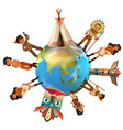 Native american indians around the world vector image