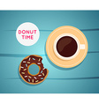 Sweet donut with coffee Donut on table Dinner on a vector image