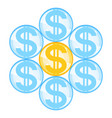 abstract dollar flower icon vector image vector image