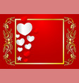 abstract heart shape and golden frame with copy vector image vector image