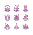 asian cities and counties landmarks icons set 4 vector image vector image