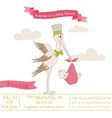 Baby Shower Card with Stork vector image vector image